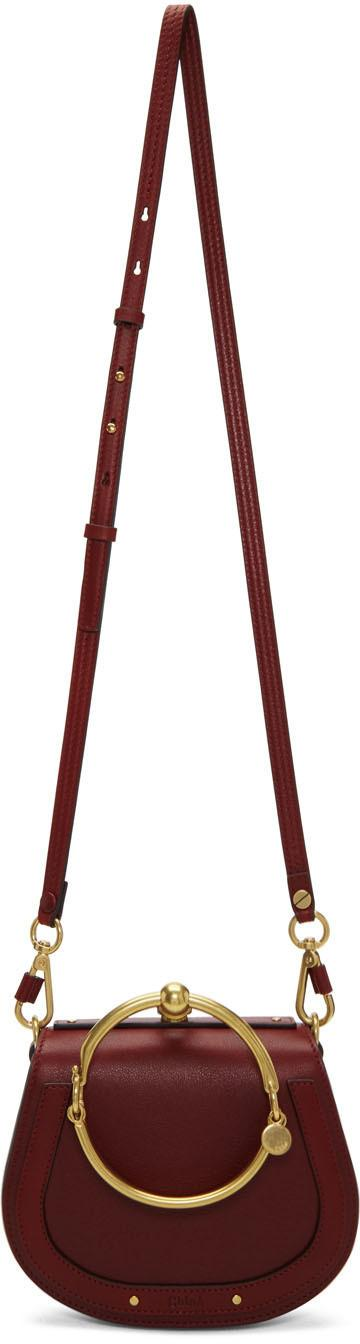ChloÉ Nile Bracelet Small Leather And Suede Shoulder Bag In Claret
