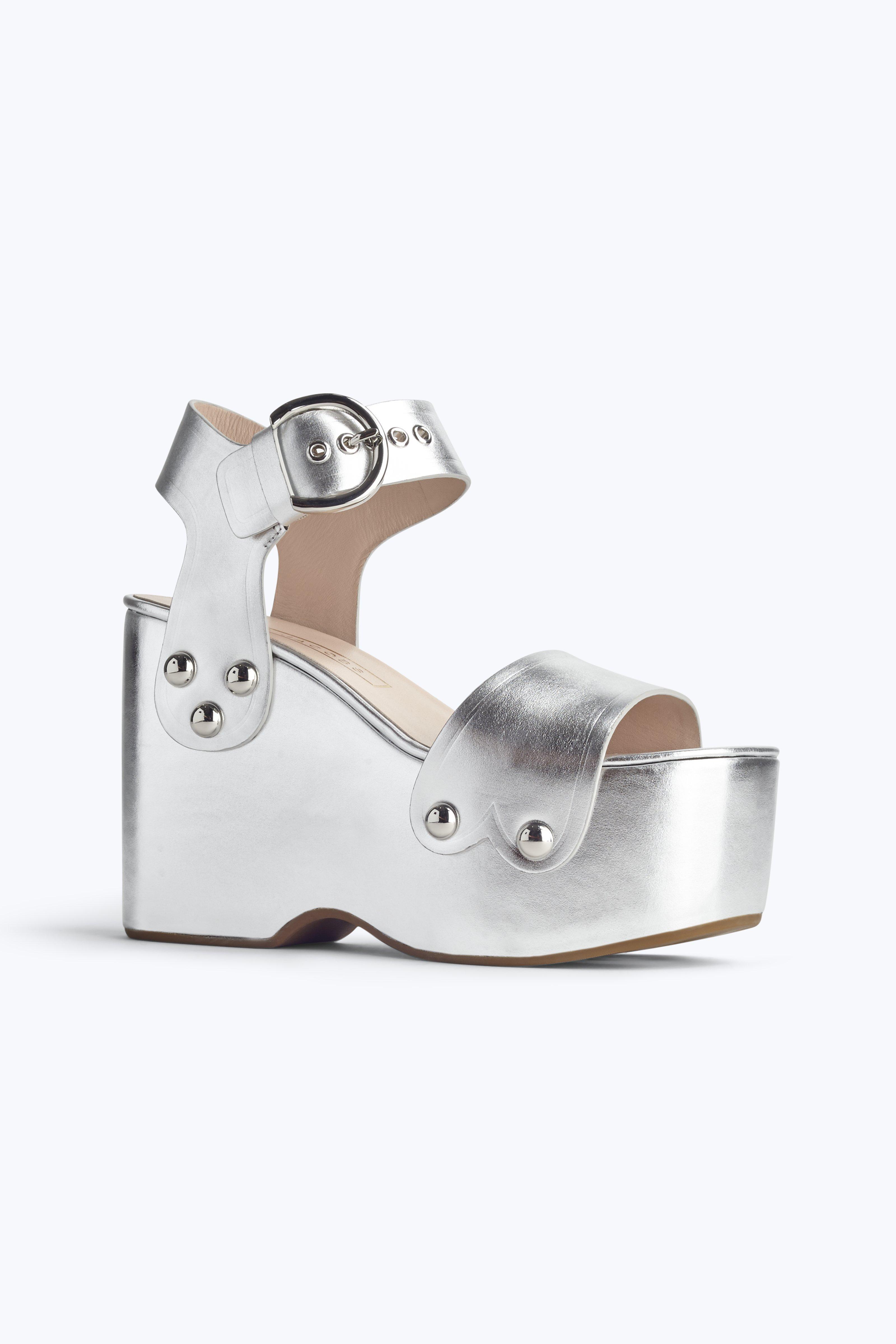 Marc Jacobs Silver Lana Wedge Sandal