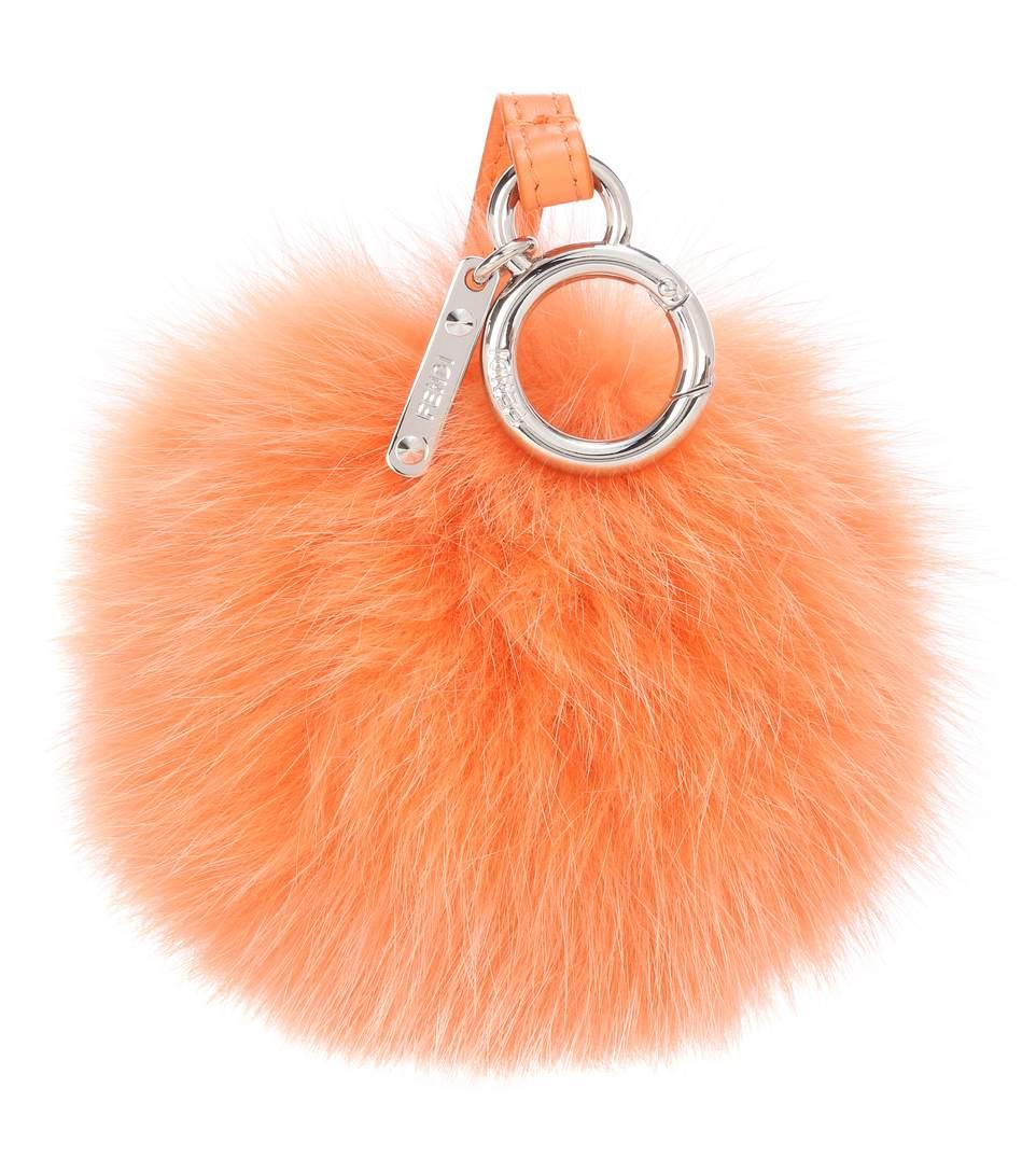 Fendi Fur Charm In Orange