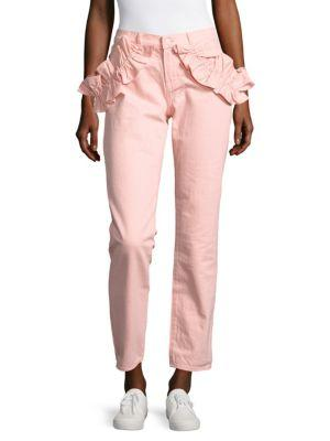 J Brand Ruffled Slim-Fit Ankle Jeans/Red In Pink
