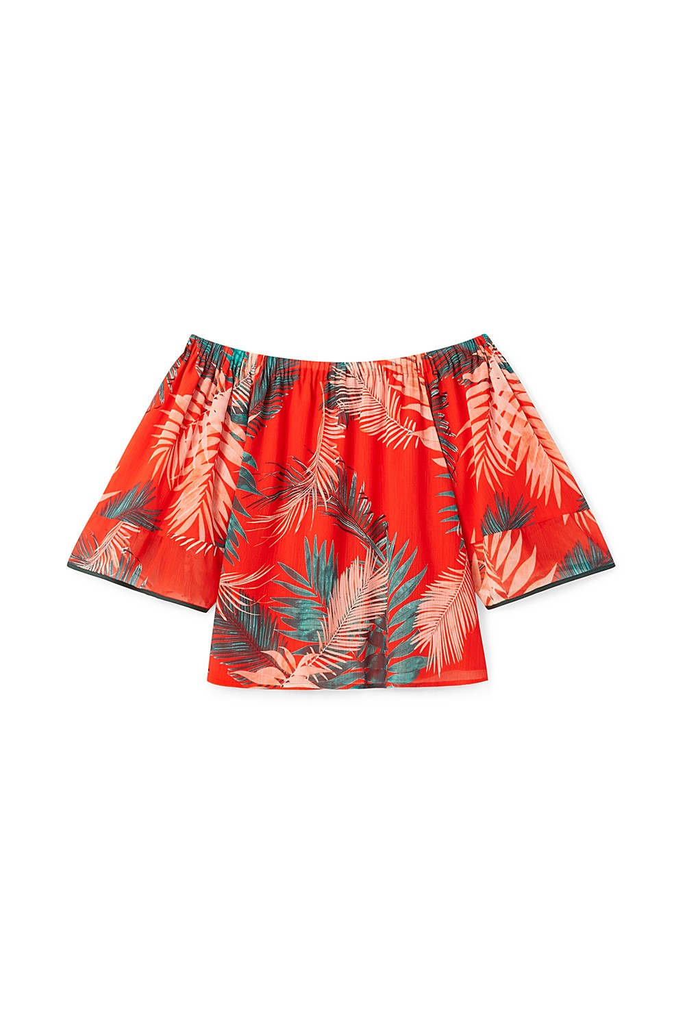 Rebecca Minkoff Faith Tropical Palm Off-The-Shoulder Top, Red In Lipstick Print