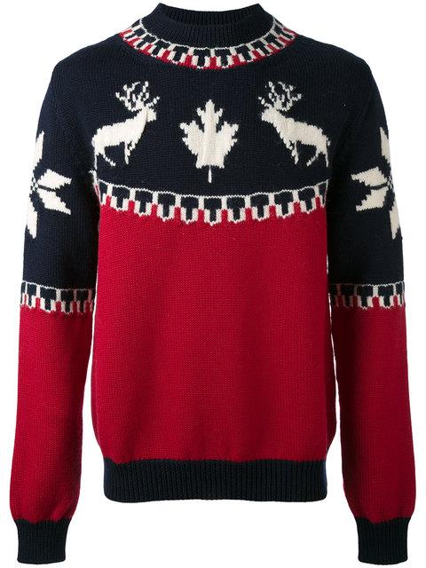 Dsquared2 Intarsia Wool & Alpaca Sweater In Blue