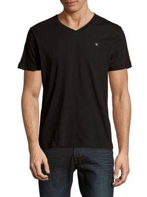 Diesel Solid V-Neck T-Shirt In Black