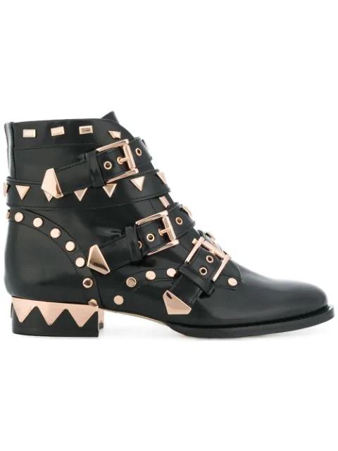 Sophia Webster 20Mm Riko Studded Leather Biker Boots, Black/Rose Gold