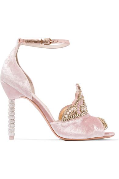 Sophia Webster Royalty Embellished Velvet And Metallic Leather Sandals In Pink