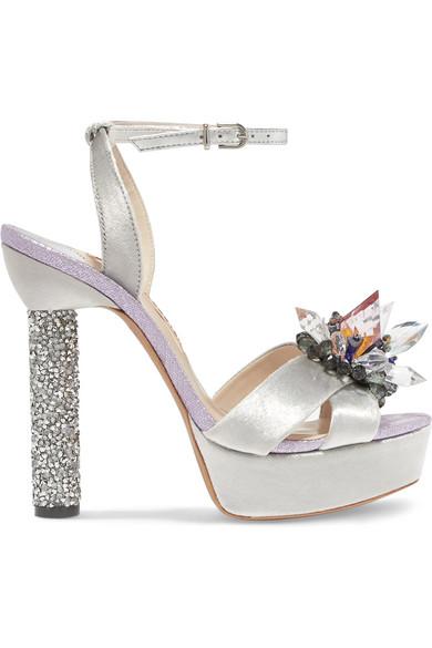 Sophia Webster Glacia Embellished Velvet And Lame Sandals In Silver