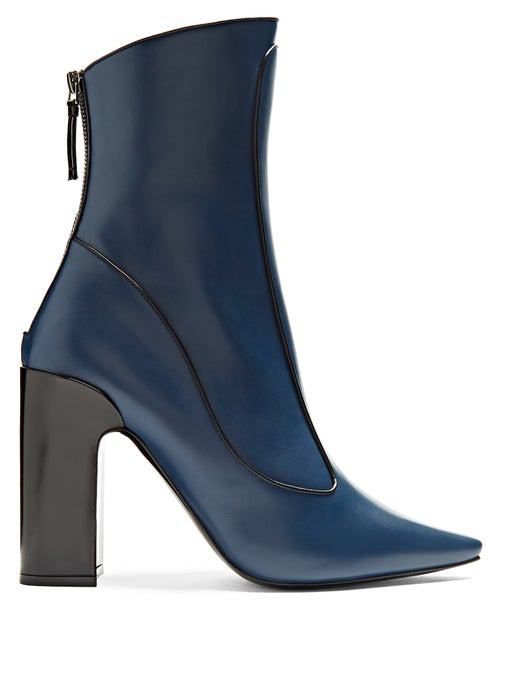 Fabrizio Viti Winter Timeless Leather Ankle Boots In Admiral-Blue