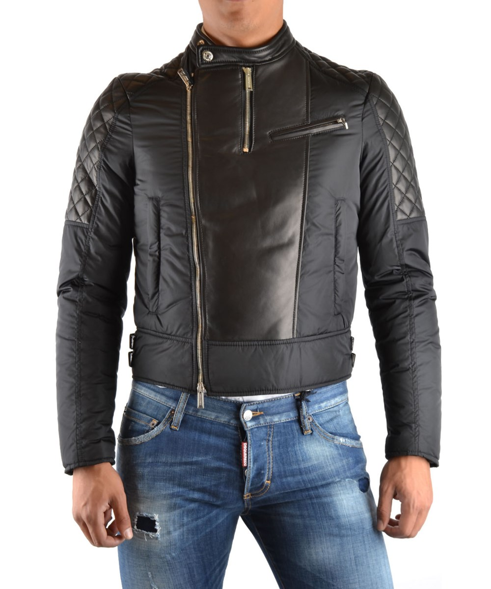 Dsquared2 Men's  Black Leather Outerwear Jacket