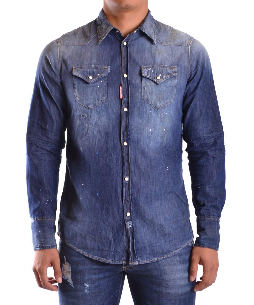 Dsquared2 Men'S  Blue Cotton Shirt'