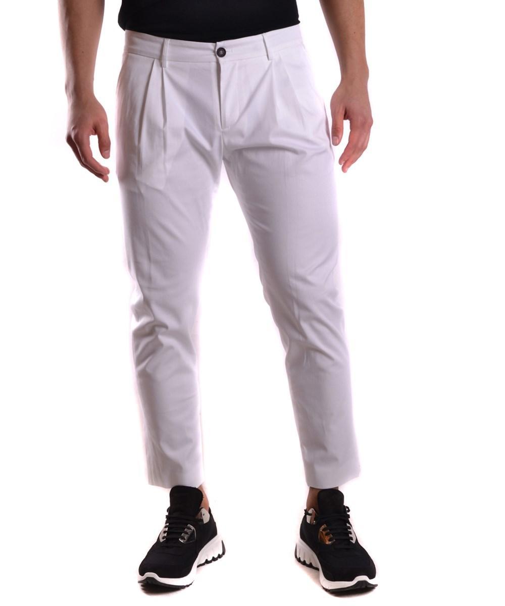 Les Hommes Men's  White Cotton Pants