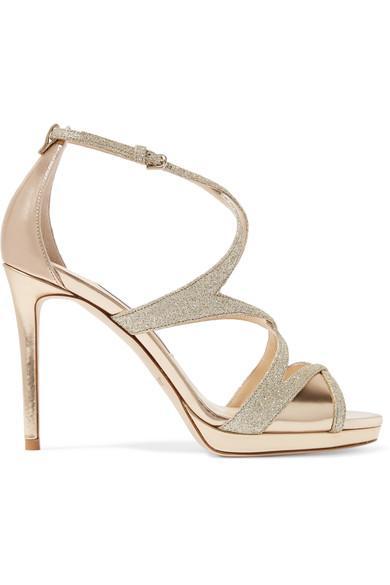 Jimmy Choo Marianne 100 Glittered Leather Sandals