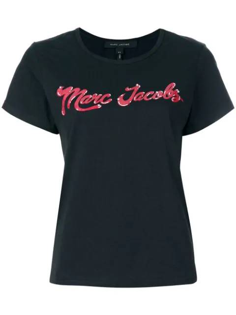 Marc Jacobs Woman Embellished Printed Cotton-Jersey T-Shirt Black In 001 Black