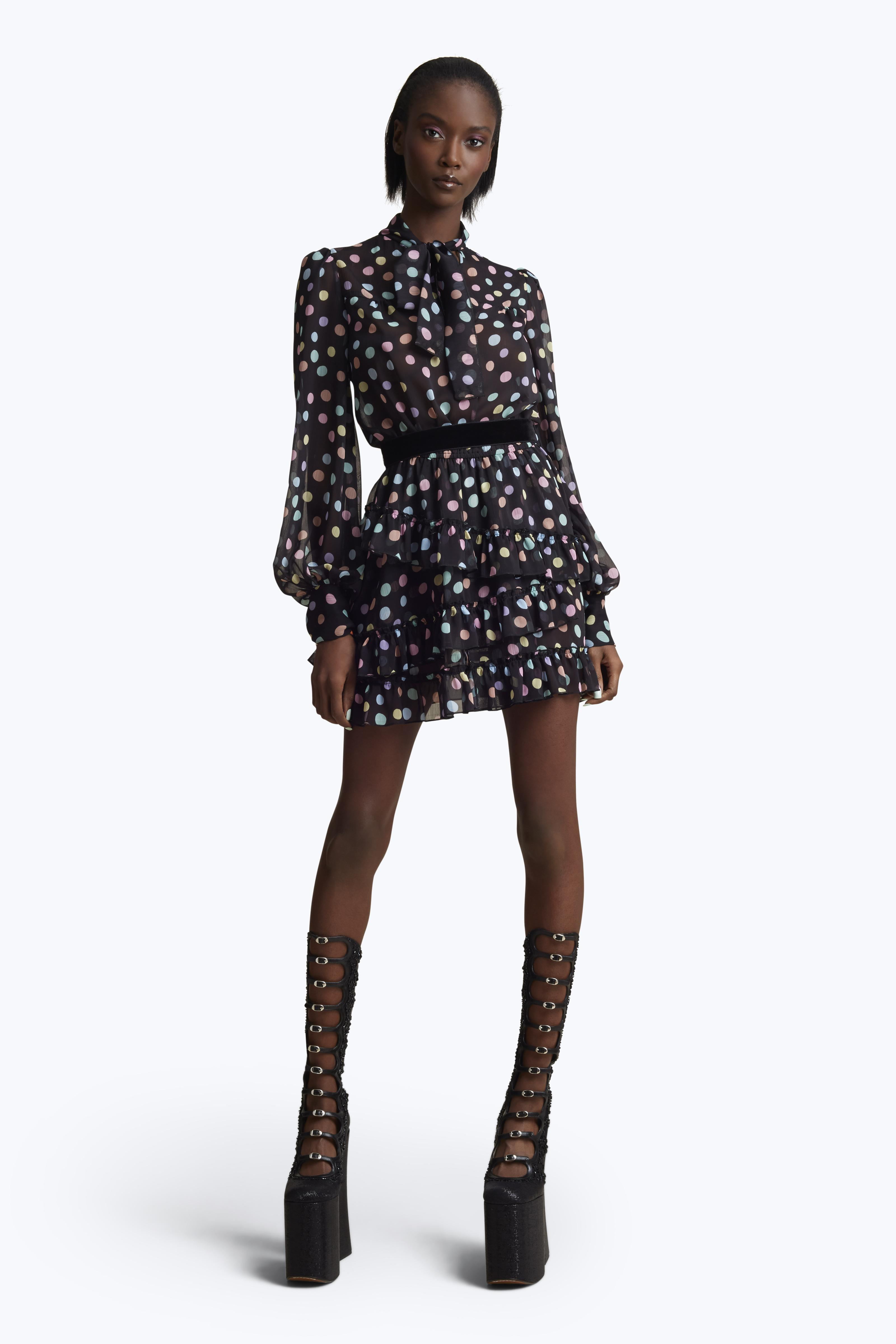 Marc Jacobs Pastel Polka Dot Tie Neck Dress In Black Multi