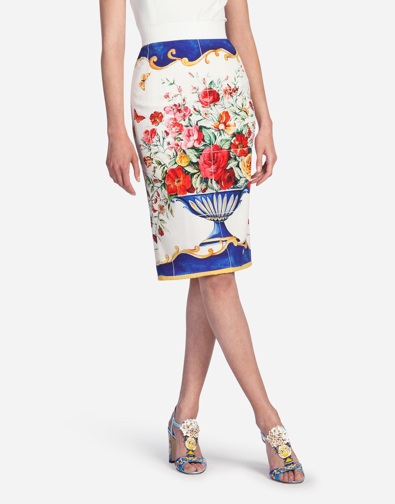 Dolce & Gabbana Caltagirone Print Pencil Skirt In Multicolor