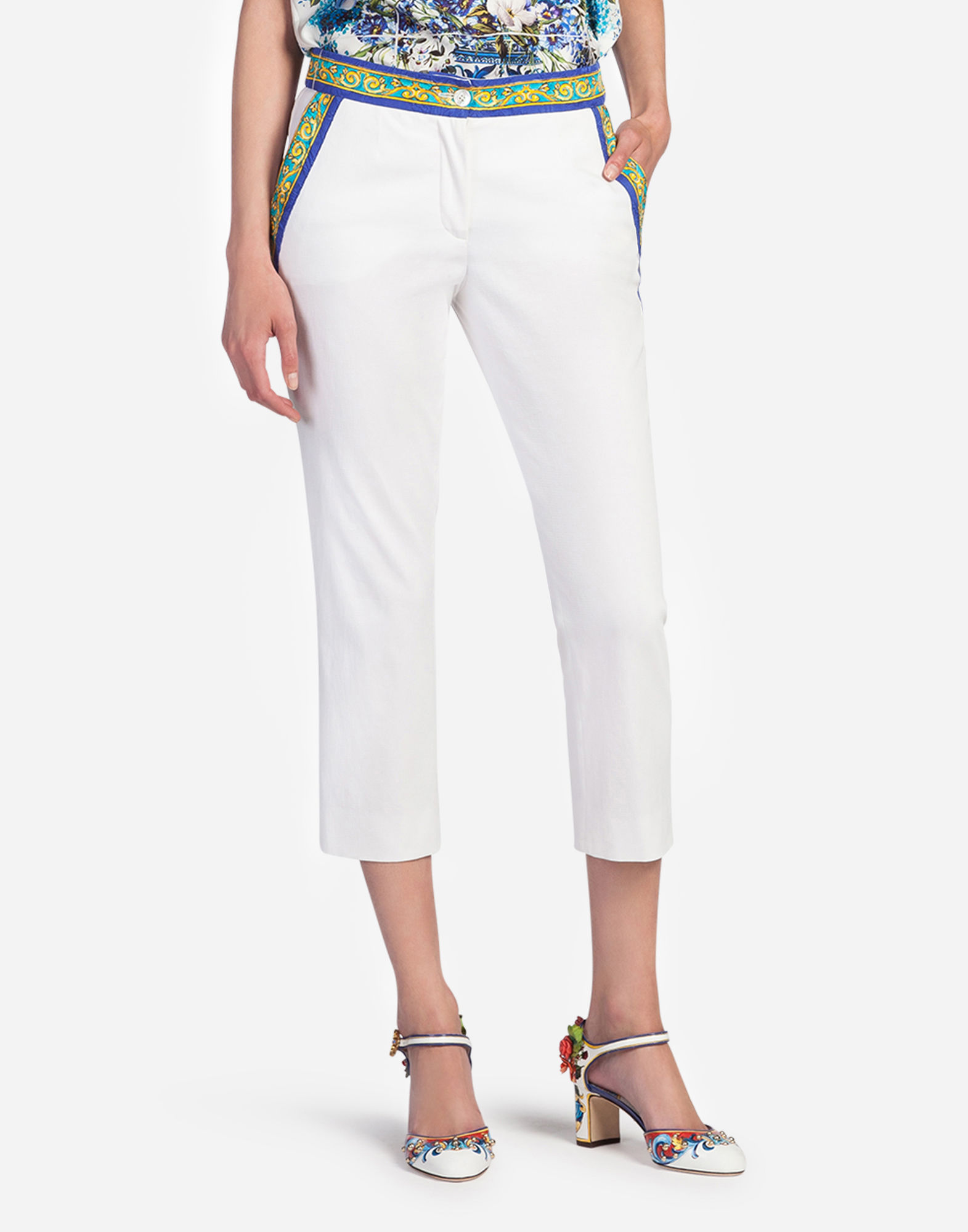 Dolce & Gabbana Cotton Pants With Majolica Details In White