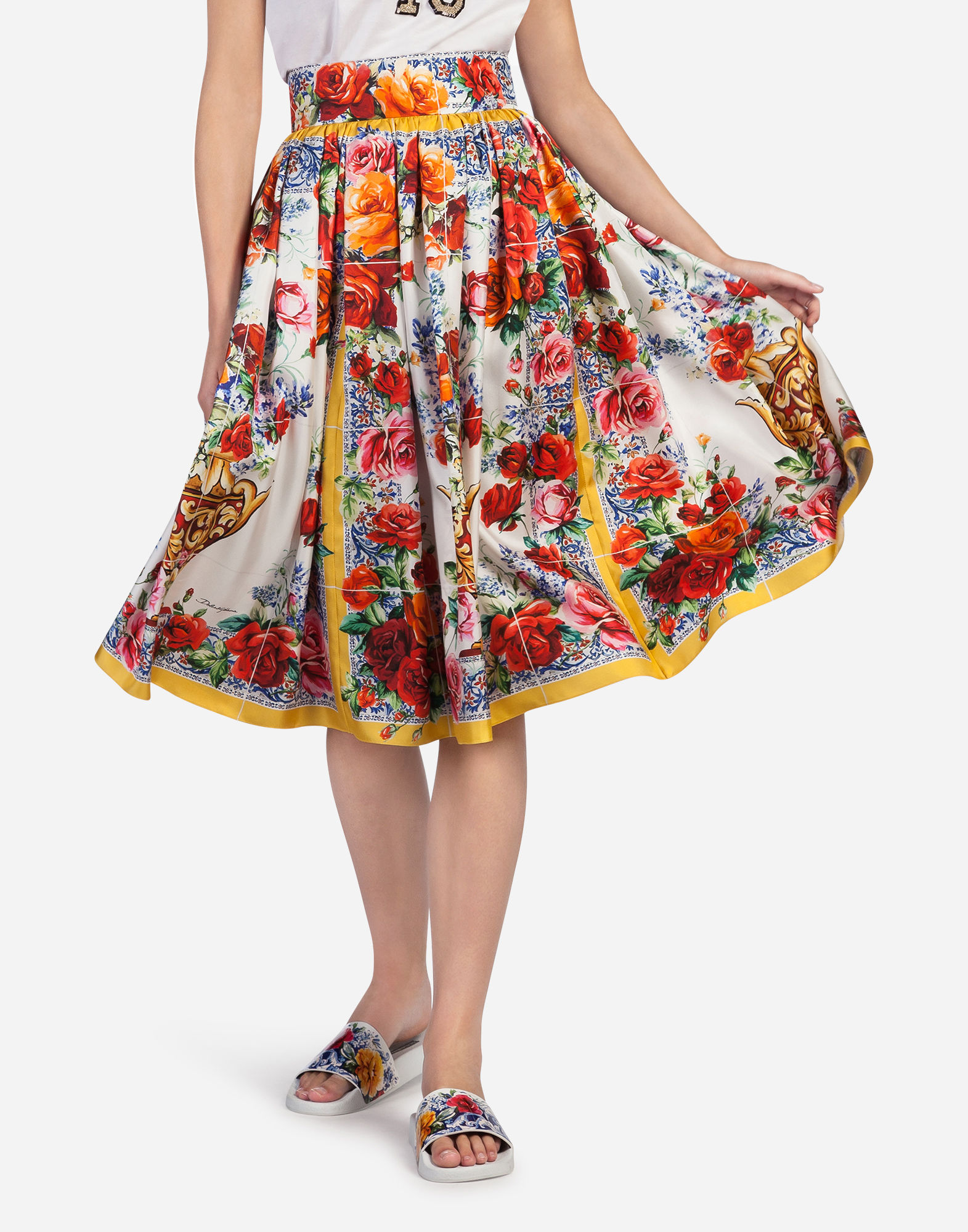 Dolce & Gabbana Floral-Print Silk-Twill Midi Skirt In Multicolor