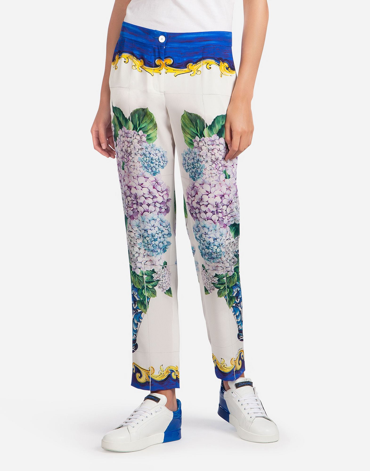 Dolce & Gabbana Printed Silk Crepe De Chine Straight-Leg Pants In White