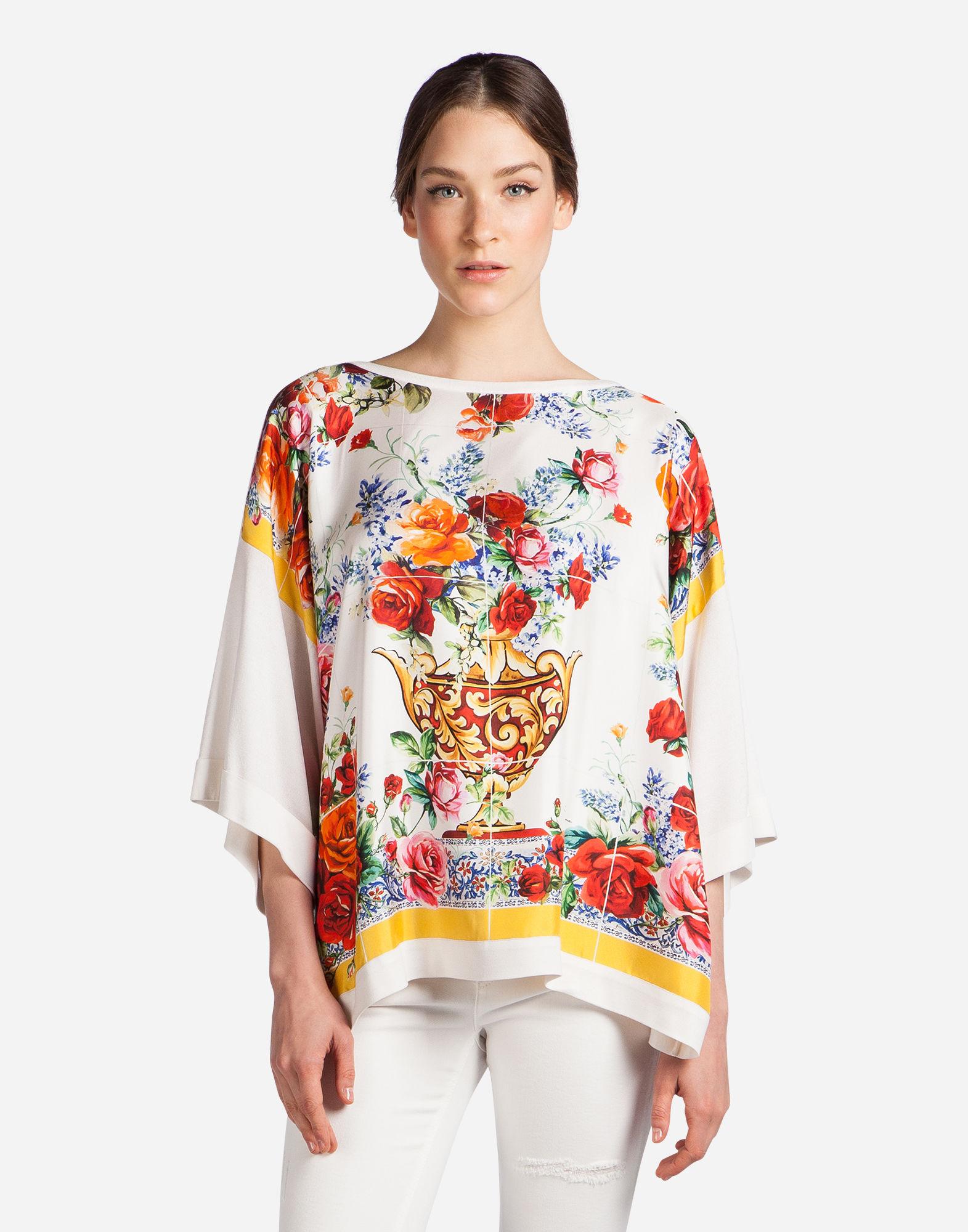 Dolce & Gabbana Sweatshirt With Silk Foulard Insert In Multicolor