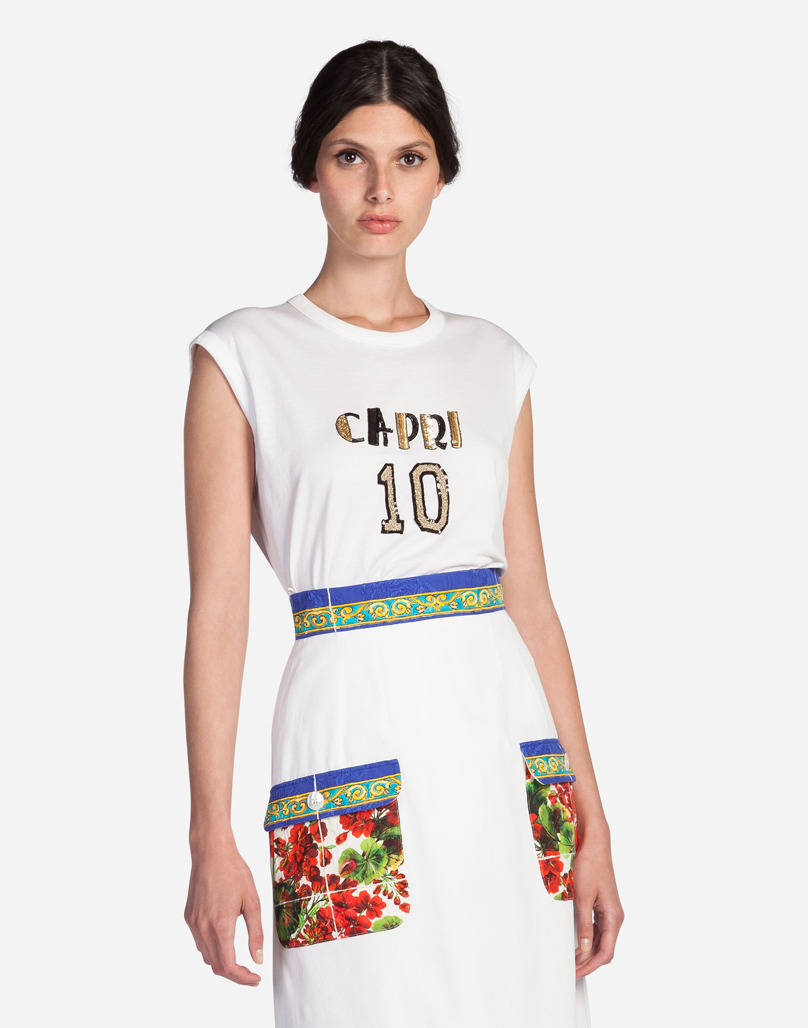 Dolce & Gabbana Sleeveless T-Shirt In Cotton With Patch In White