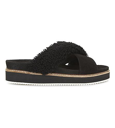 Whistles Alie Shearling Stacked Sole Sandals In Black