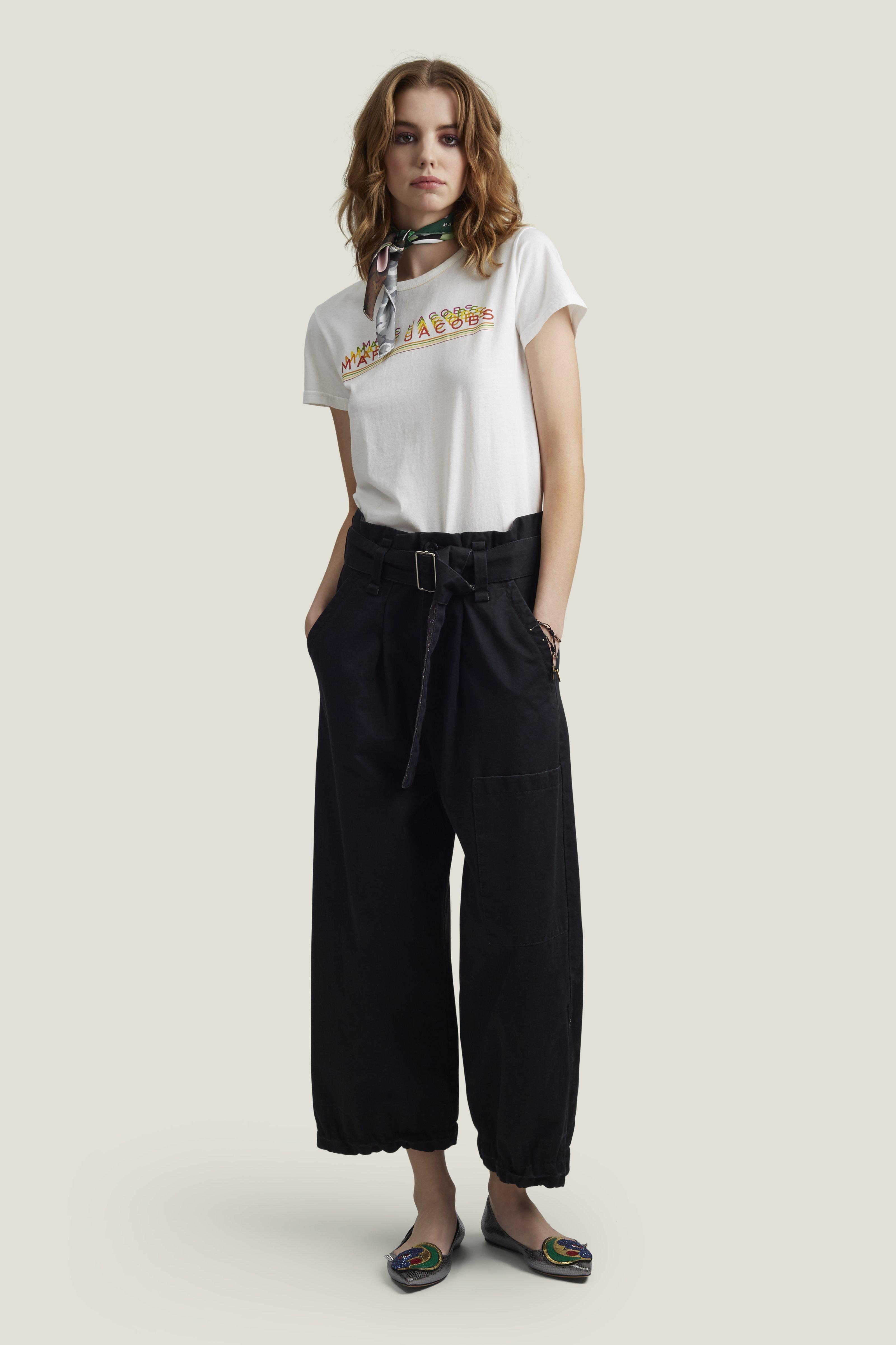Marc Jacobs Cotton Sateen Belted Cargo Culottes In Black