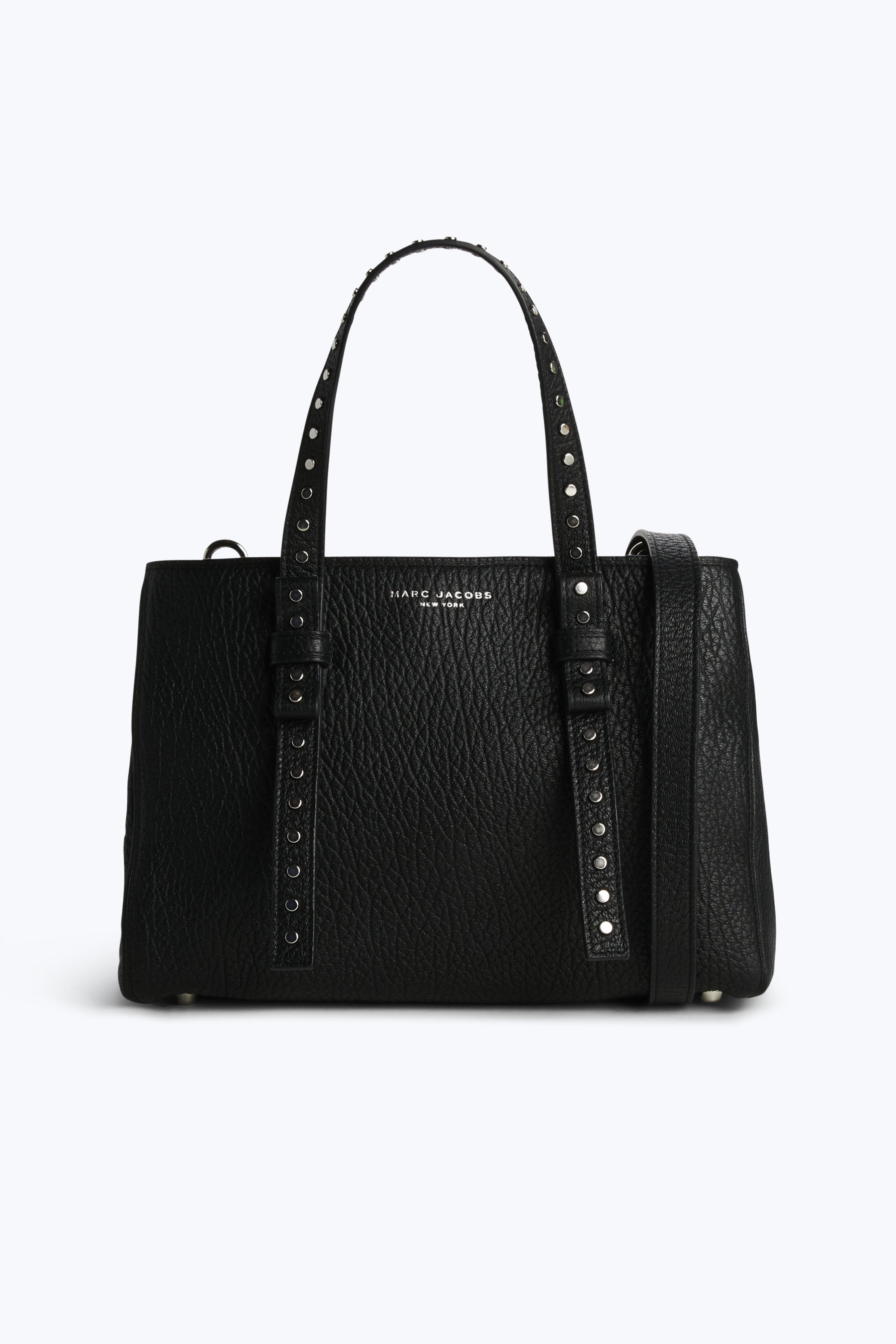 Marc Jacobs Mini T Stud Pebbled Tote Bag In Black