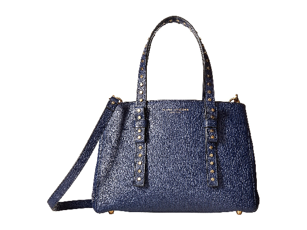 Marc Jacobs Mini T Leather Satchel In Midnight Blue