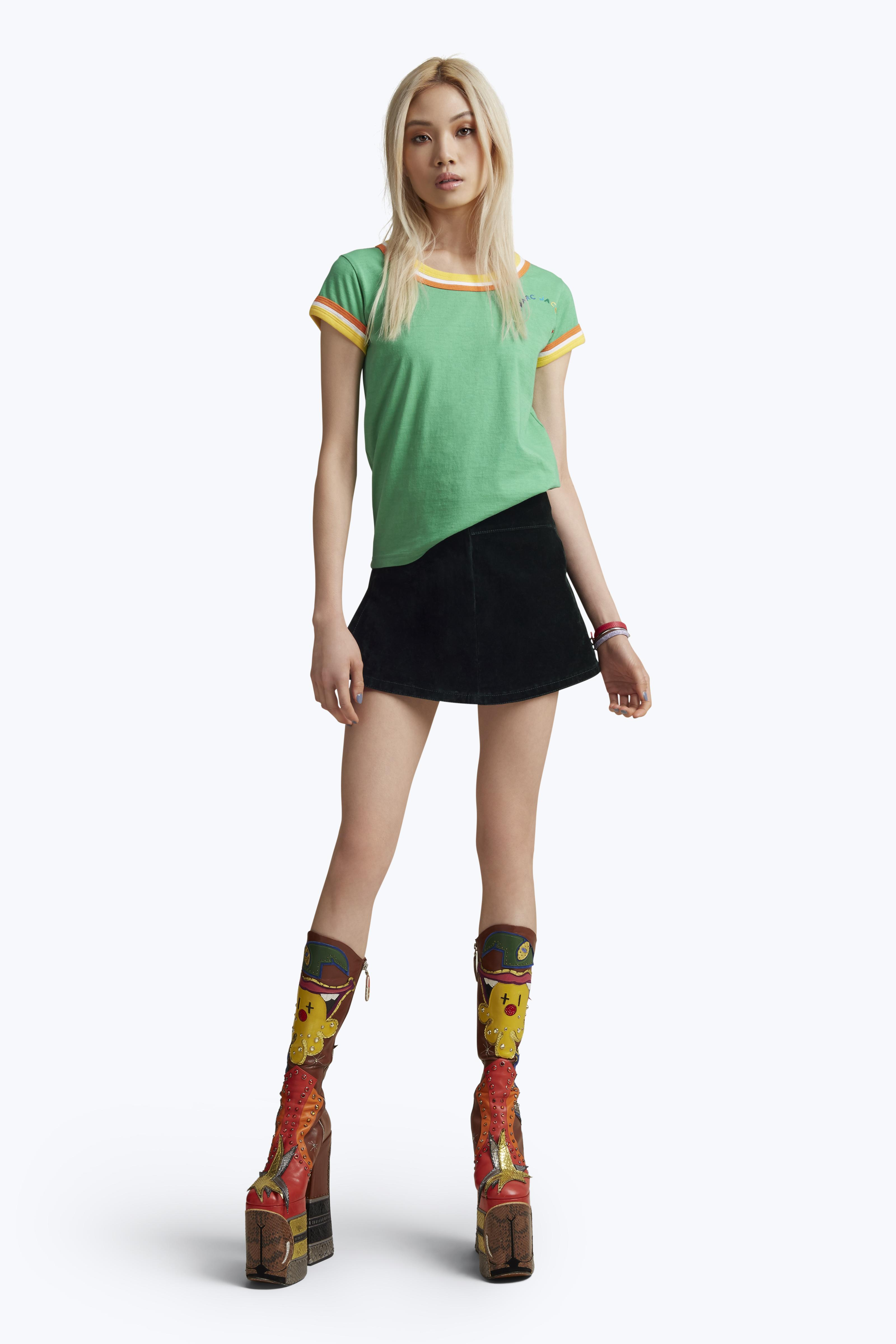 Marc Jacobs Mj Rainbow Cap Sleeve Tee In Green Multi