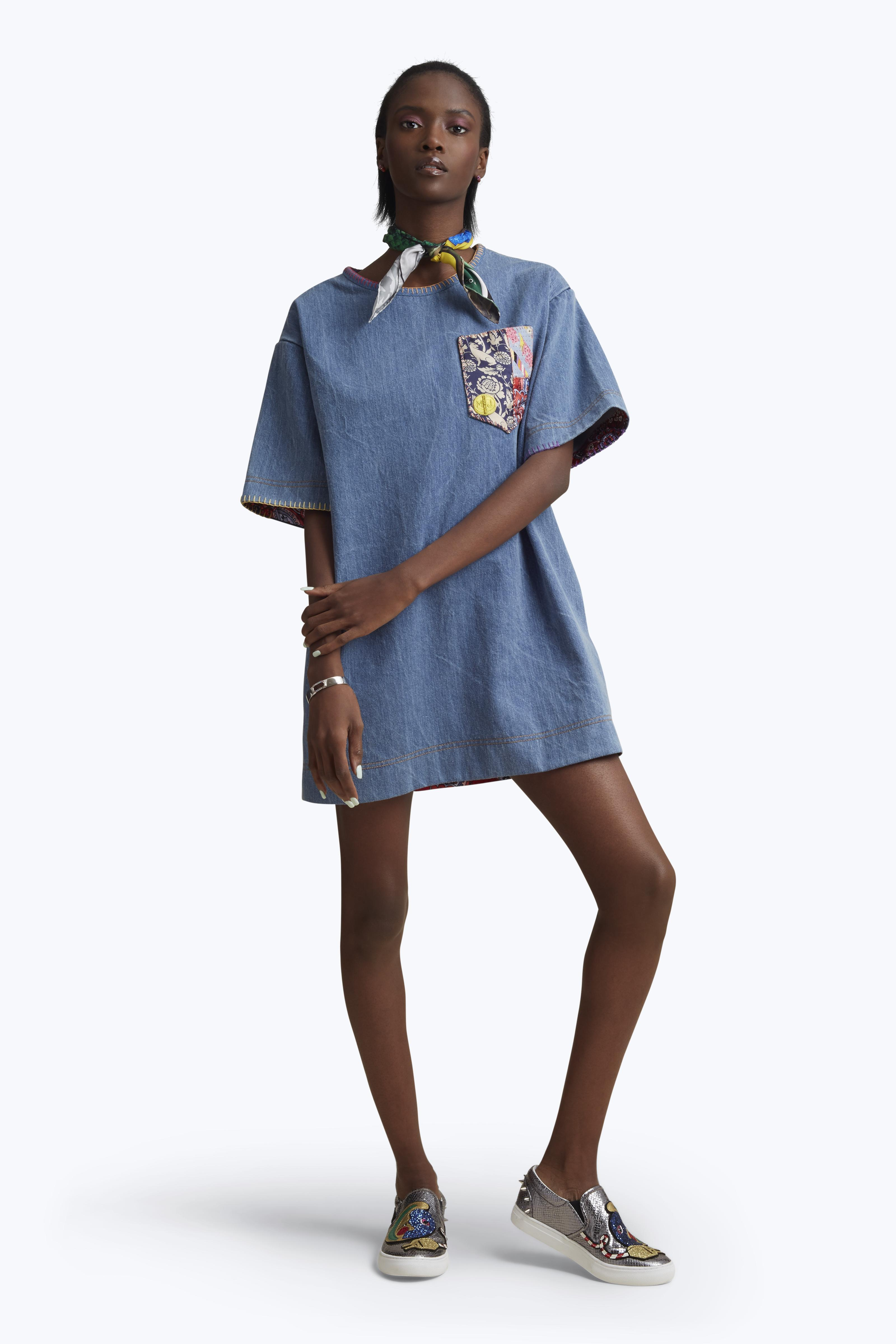 Marc Jacobs Denim T-Shirt Dress With Embroidery In Classic Indigo