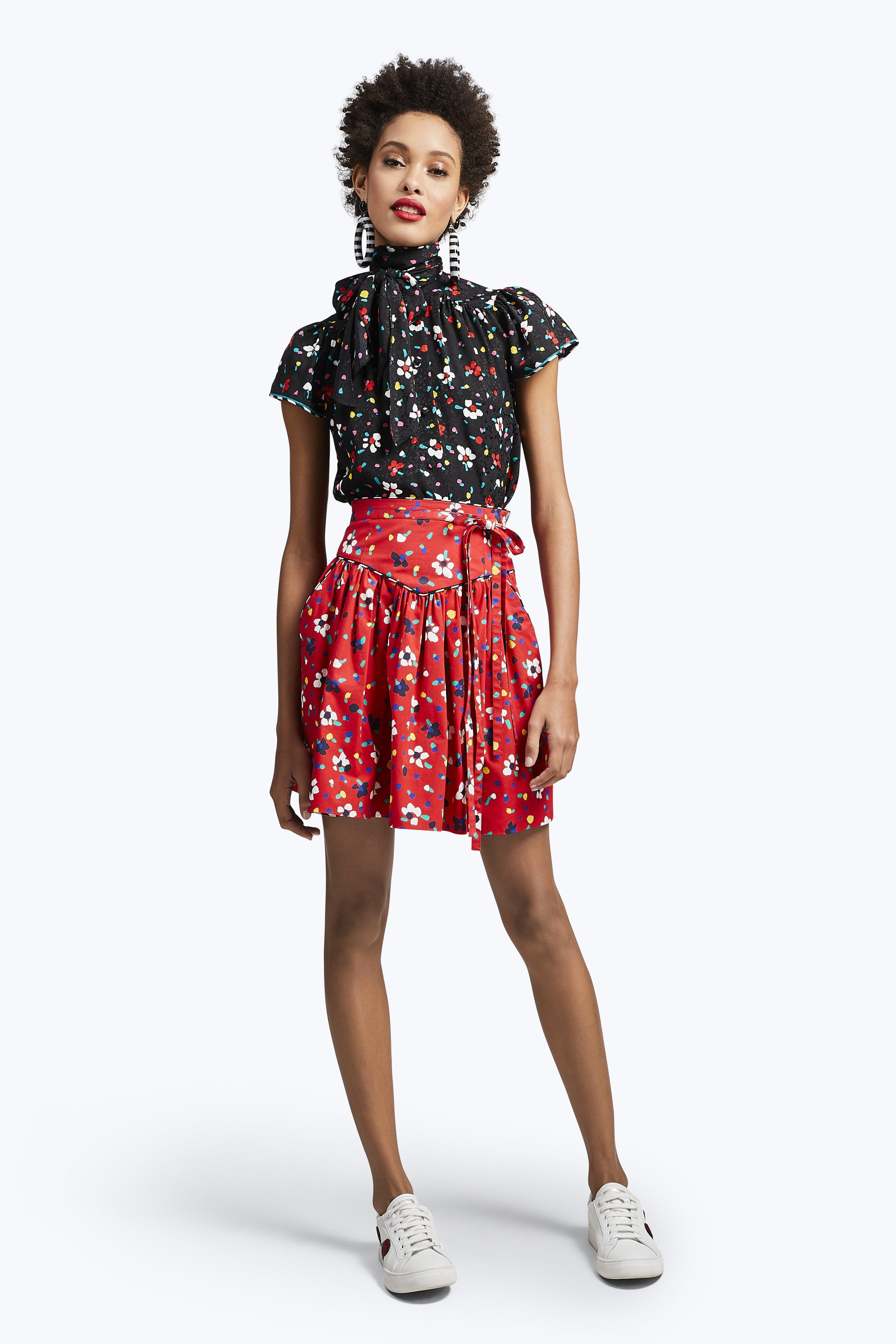 Marc Jacobs Painted Flower Print Waist Tie Cotton Skirt In Black Multicolor
