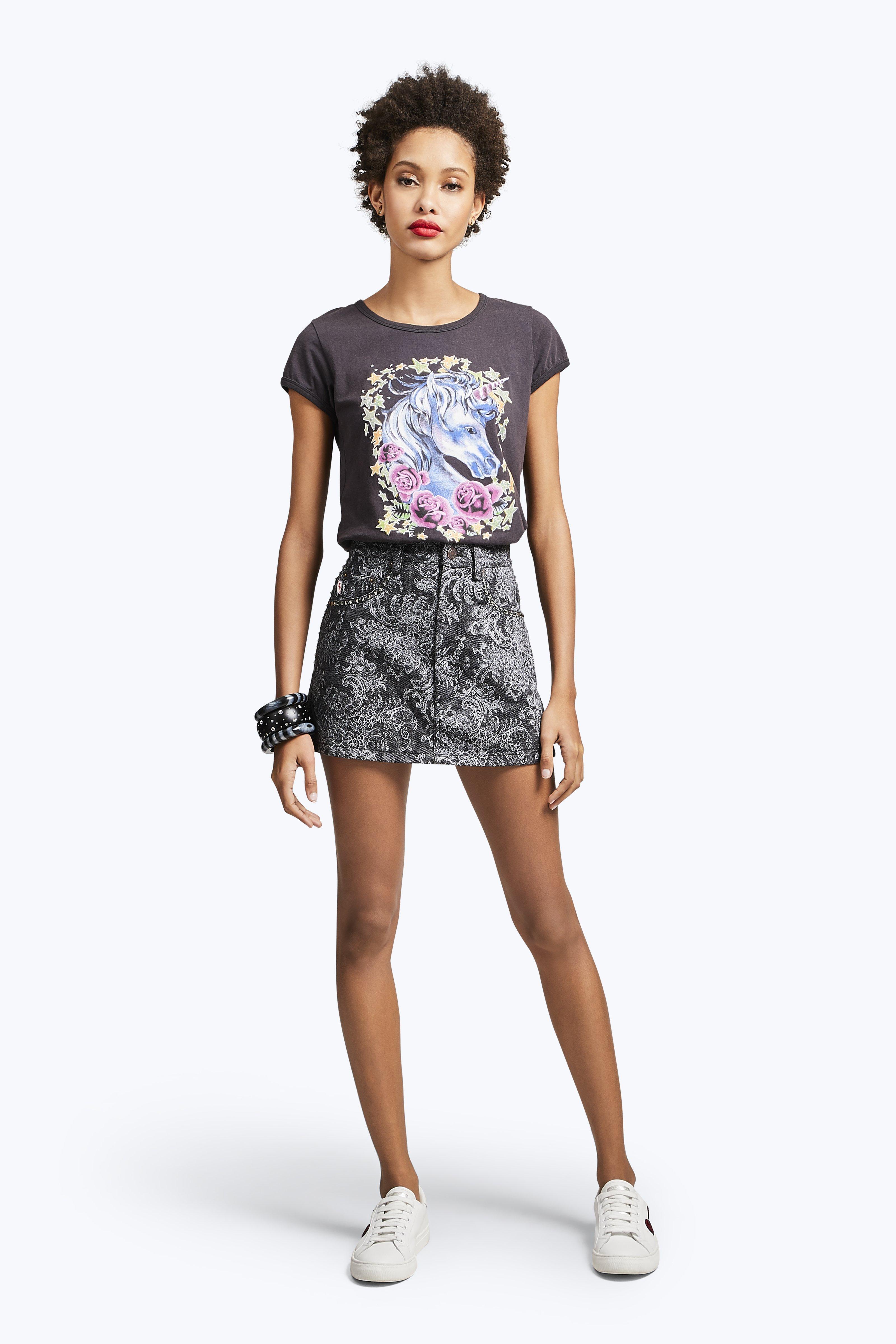 Marc Jacobs Embellished Denim Mini Skirt In Black Lace