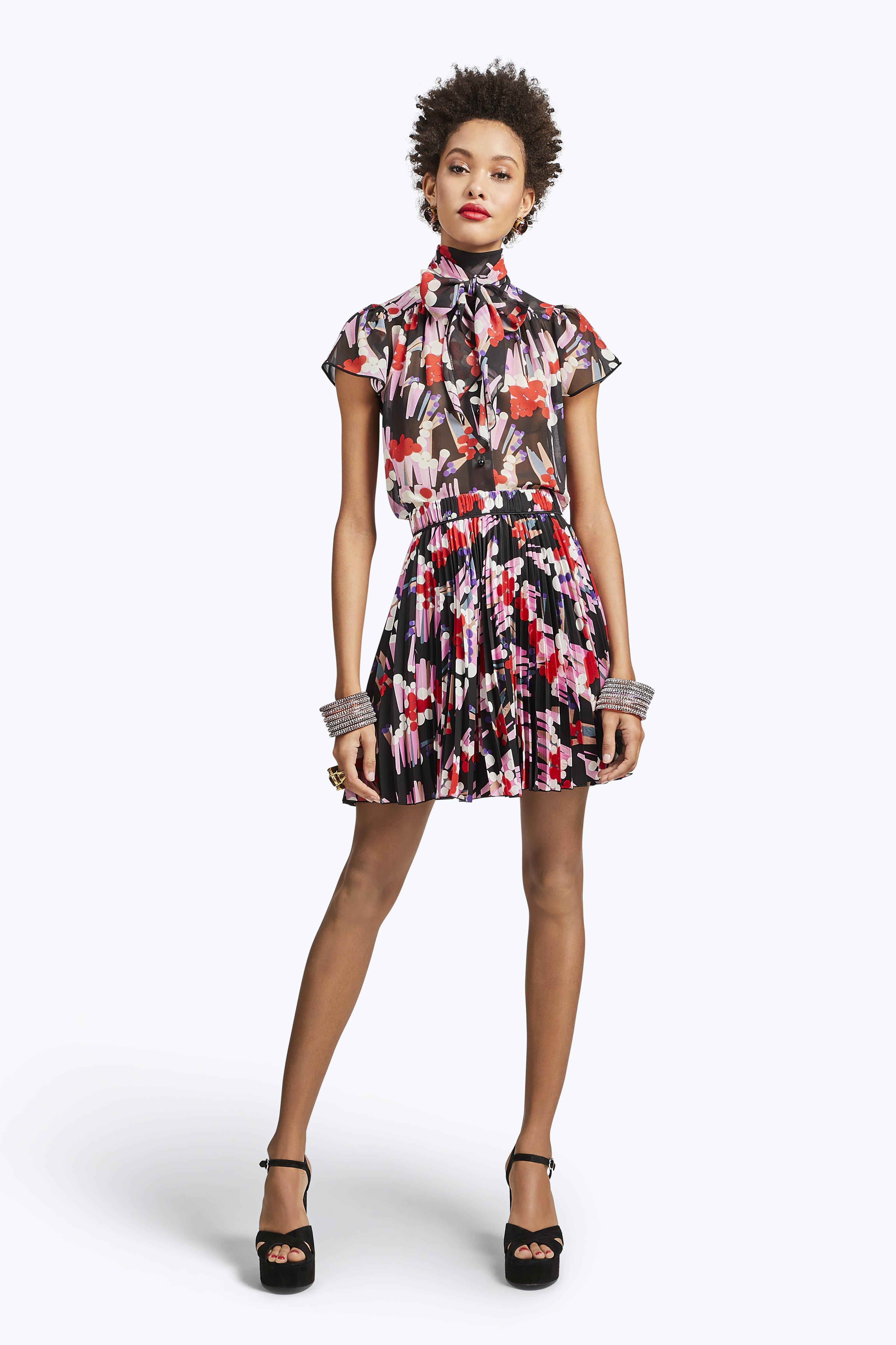 Marc Jacobs Pleated Print Silk Skirt In Black Multi