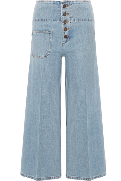 Marc Jacobs High-Waist Wide-Leg Cropped Jeans, Indigo In Blue