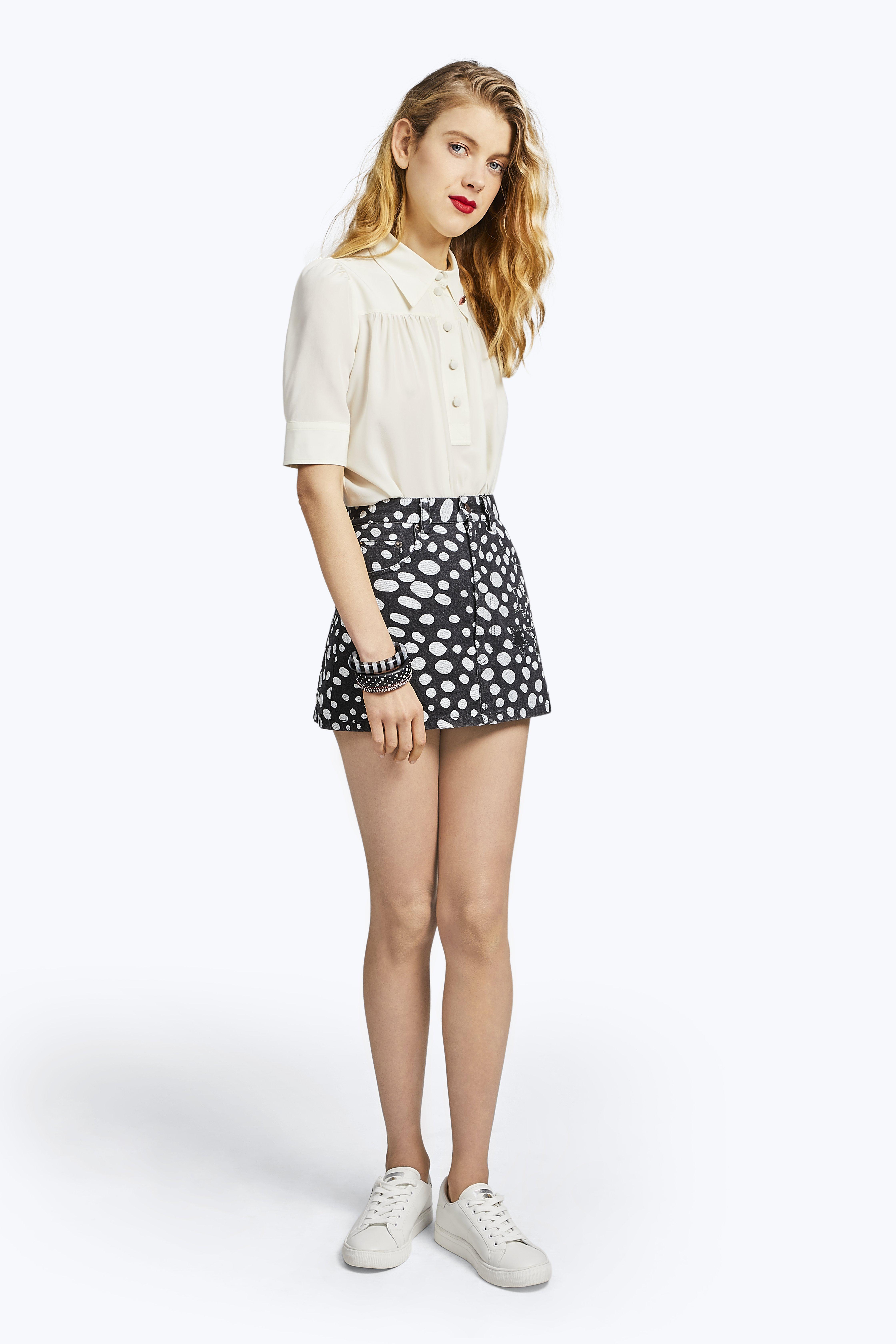 Marc Jacobs Spot Print Swarovski Crystal Star Denim Skirt In Black Dot