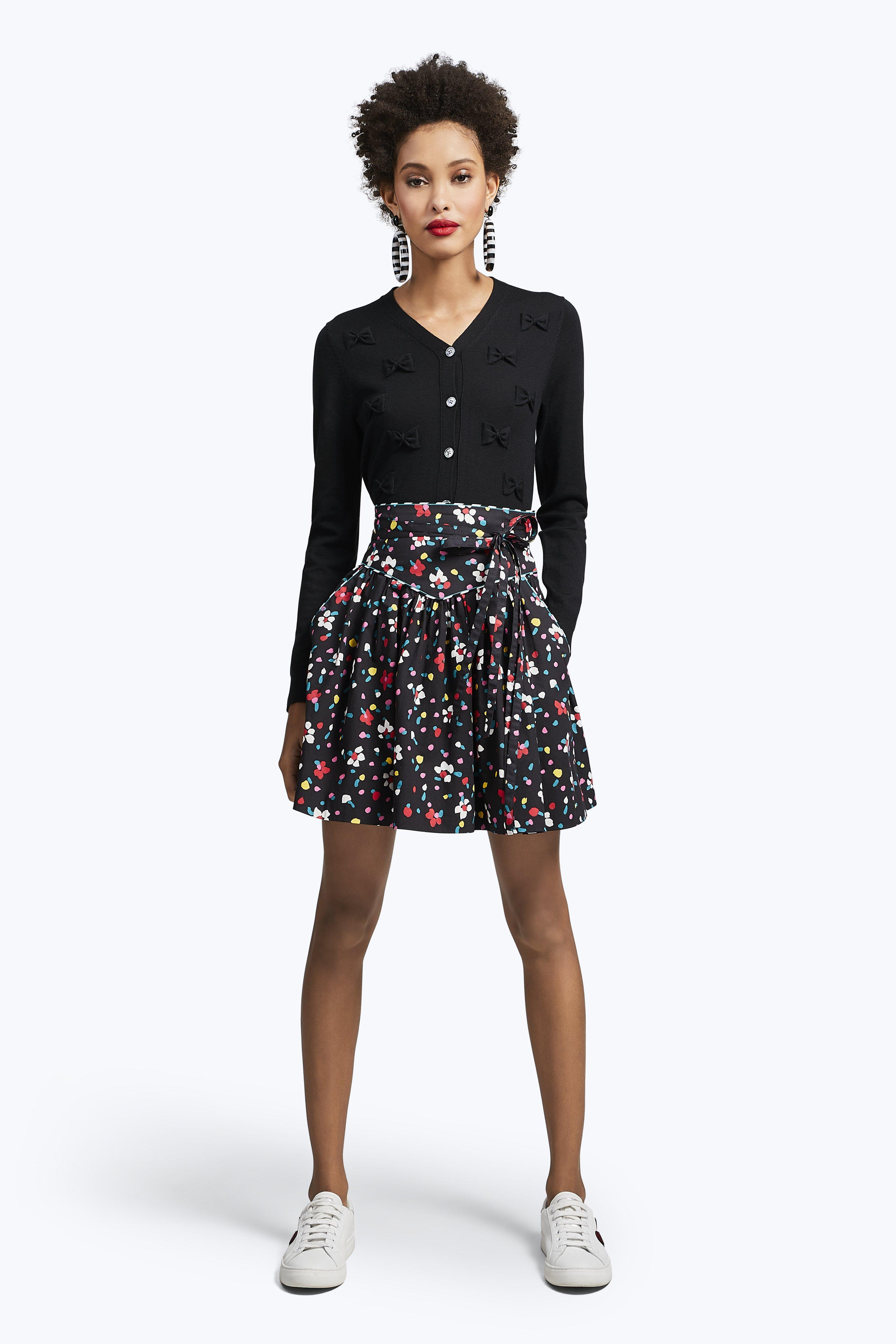 Marc Jacobs Painted Flower Waist Tie Skirt In Black Multi