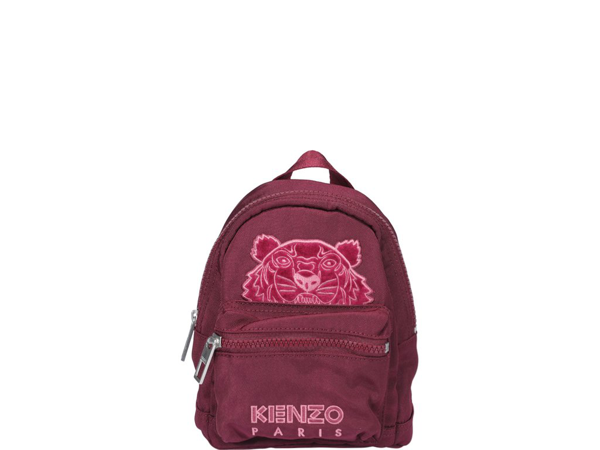 Kenzo Mini Kampus Tiger Velvet Backpack In Red