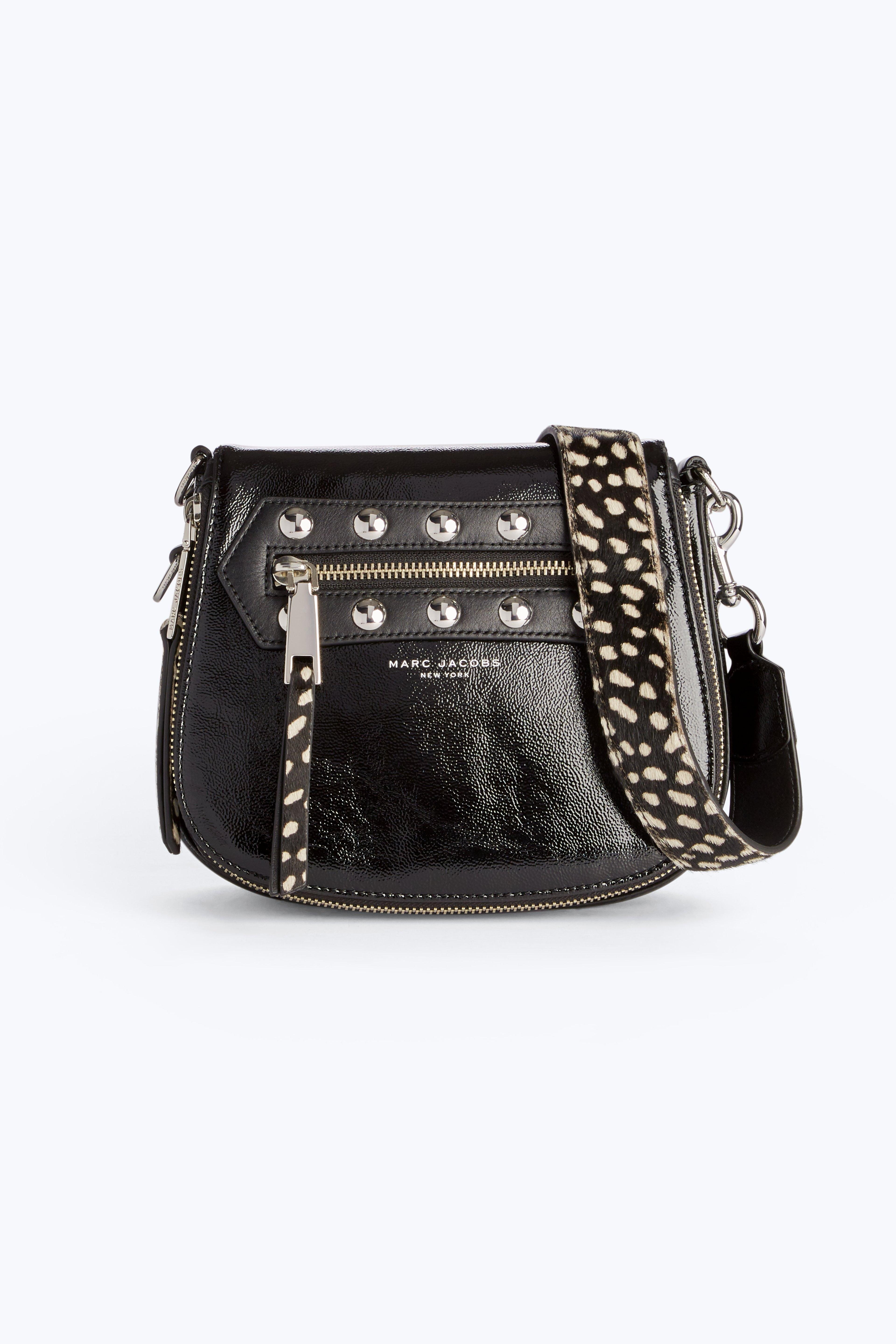 Marc Jacobs Nomad Studded Calf Hair Strap Small Patent Leather Saddle Bag In Black Multi