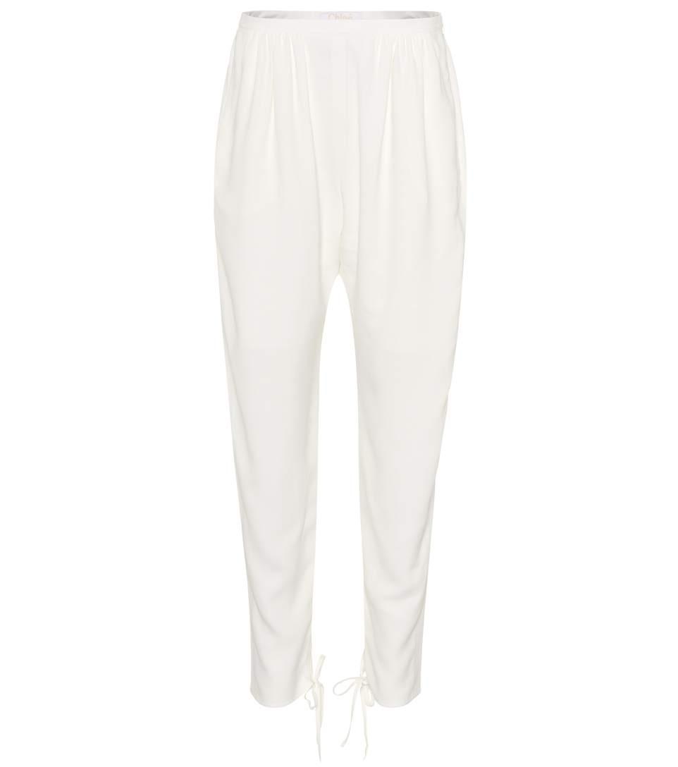 ChloÉ CrÊPe Trousers In White