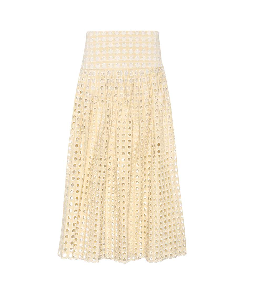 ChloÉ Embroidered Eyelet Skirt In Neutrals