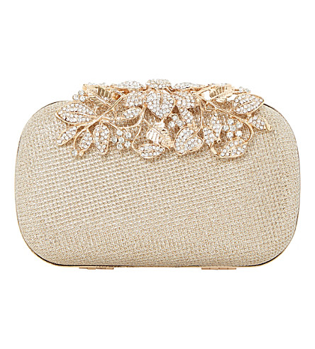 Dune Emberrs Embellished Clasp Clutch Bag In Gold-Metallic Fabric