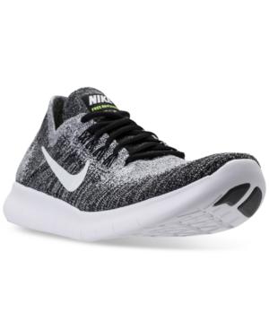 Nike Men's Free Run Flyknit 2017 Running Sneakers From Finish Line In Black/White-Volt
