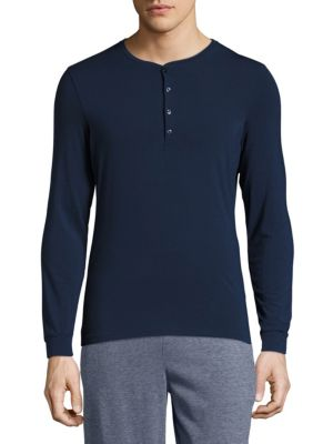 La Perla Grandad Neck T-Shirt In Blue