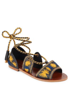 Antik Batik Flow Embroidered Lace-Up Sandals In Navy Multi