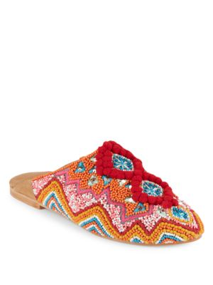 Antik Batik Sunny Baboush Slide Sandals In Red Multi