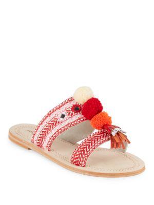 Antik Batik Koshi Pom-Pom Slide Sandals In Red