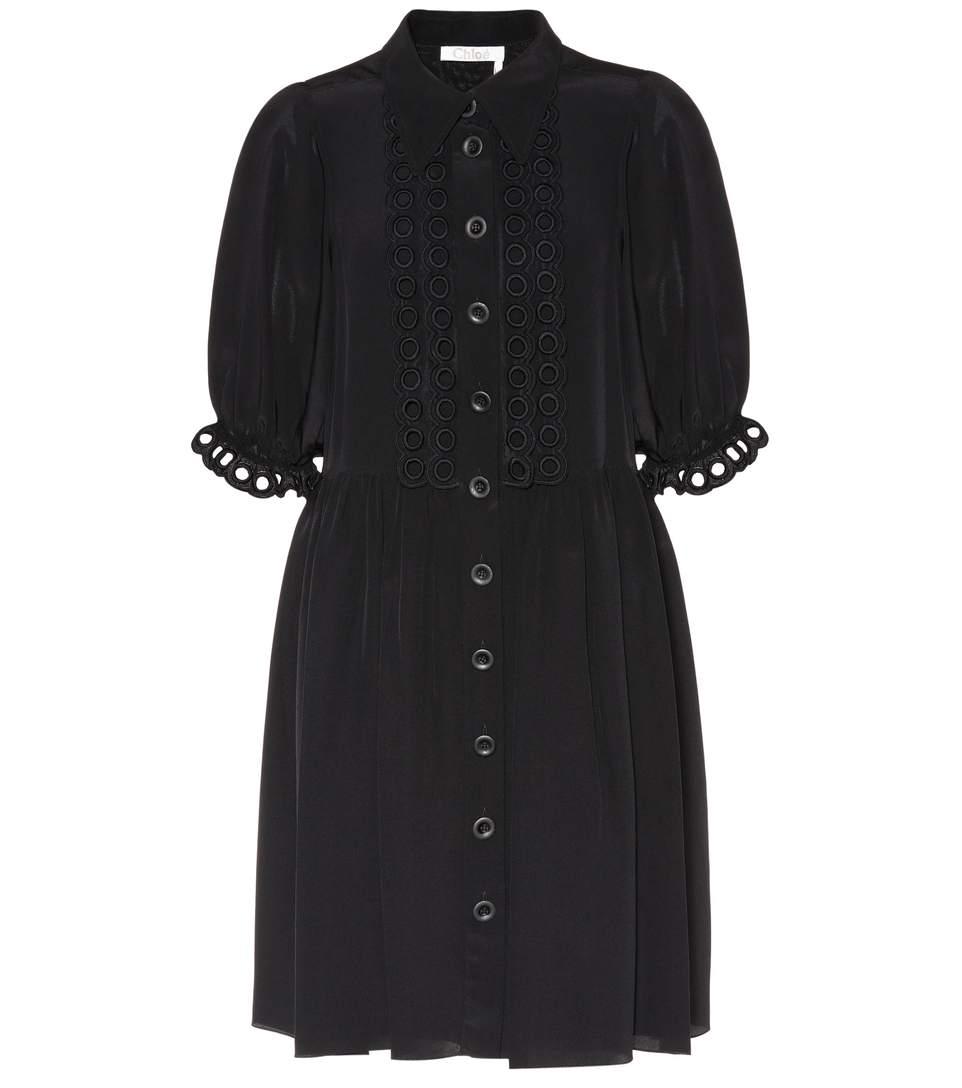 ChloÉ Scallop Trimmed Shirt Dress In Black