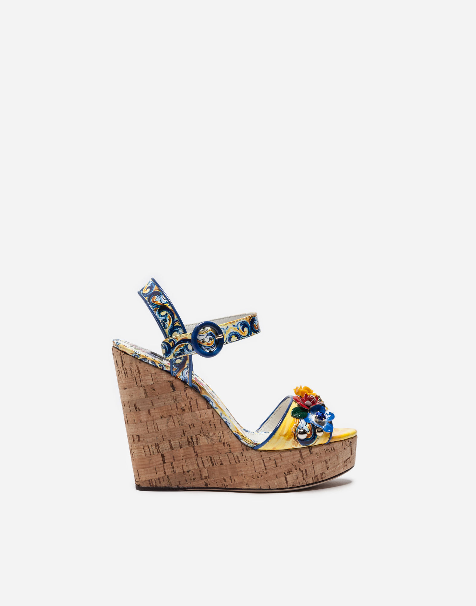Dolce & Gabbana Wedge Sandals In Cork And Printed Varnish In Multicolor