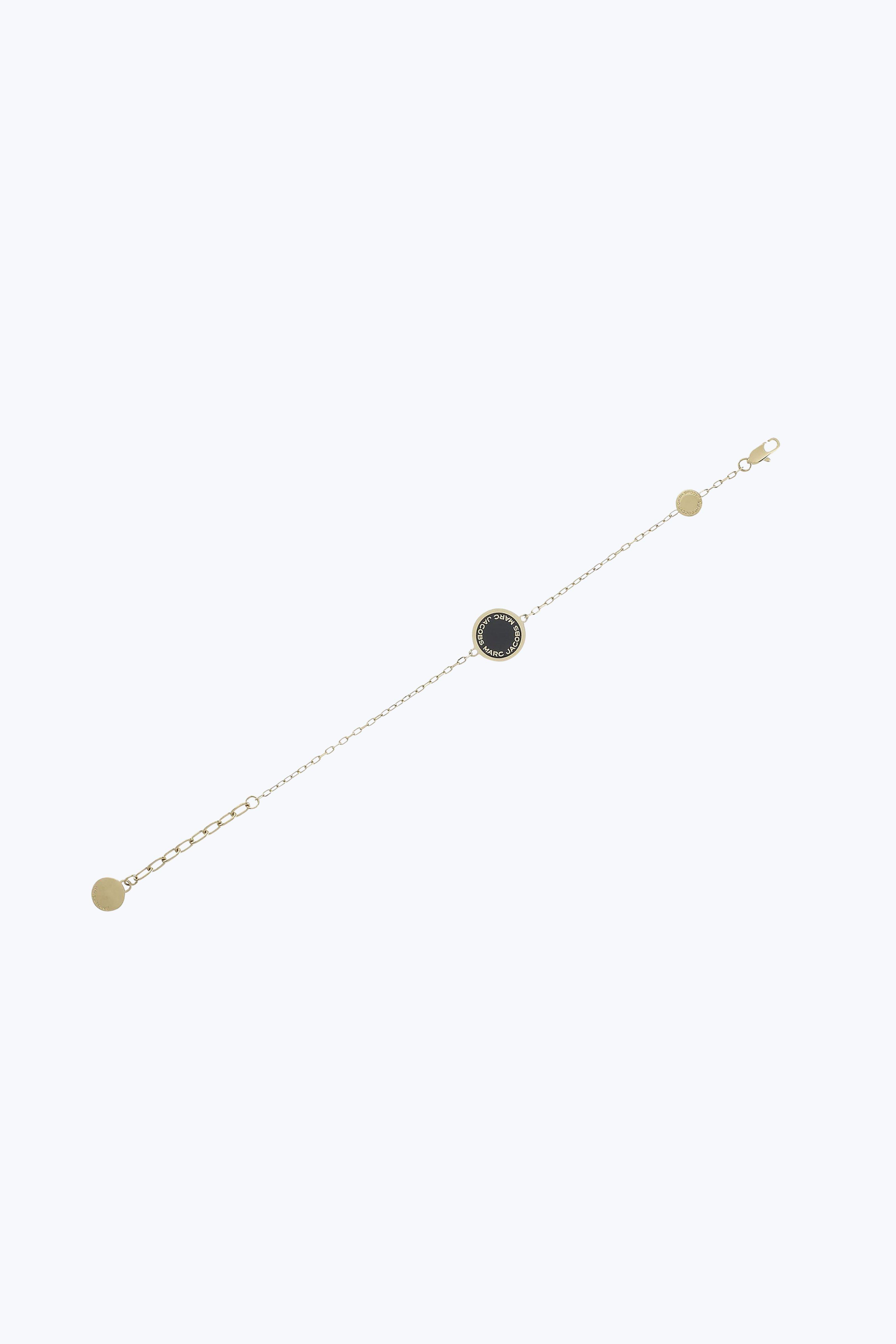 Marc Jacobs Enamel Logo Disc Bracelet In Black/Oro
