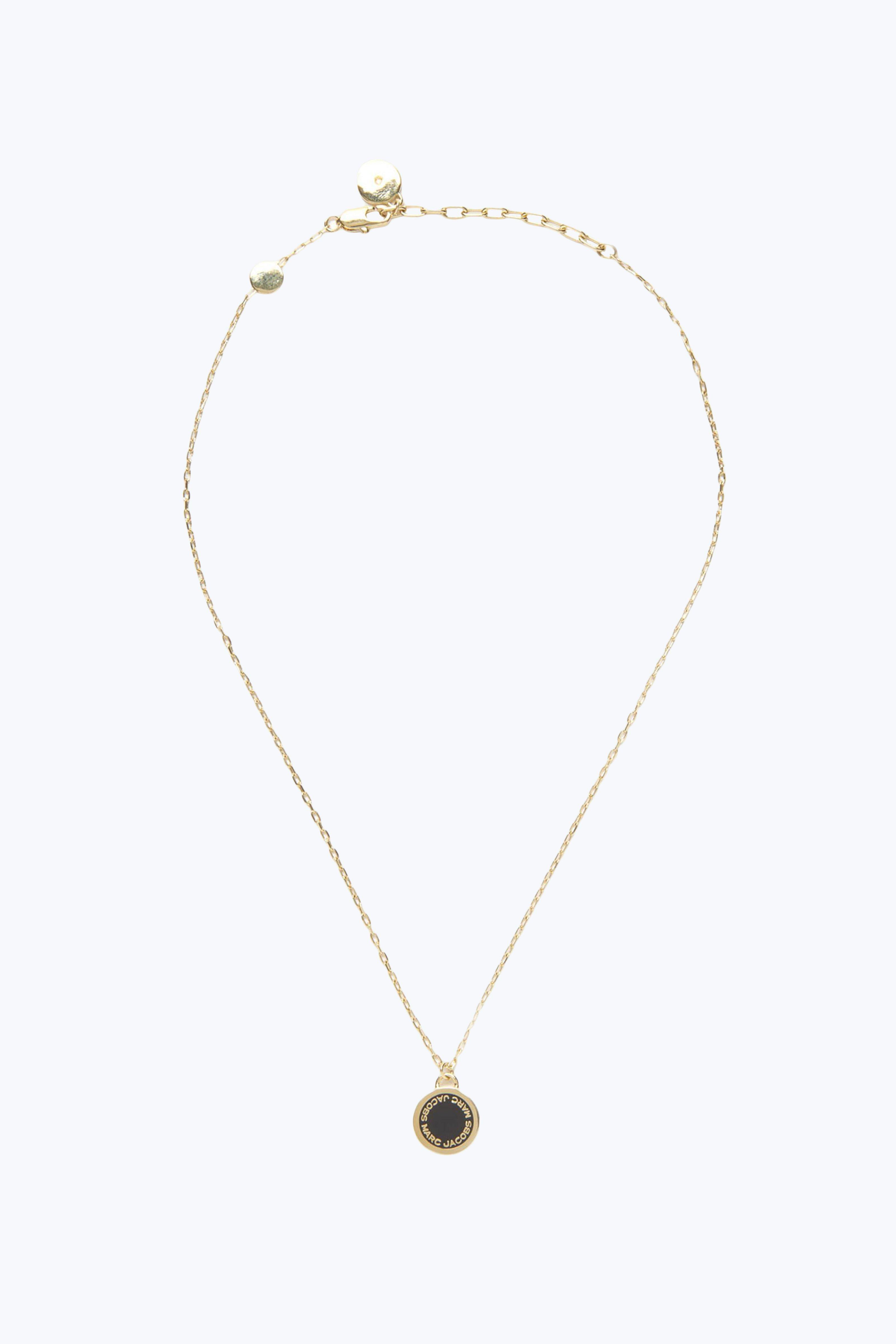 Marc Jacobs Logo Disc Pendant Necklace In Cream Brass - Jewelry Us In Black/Oro