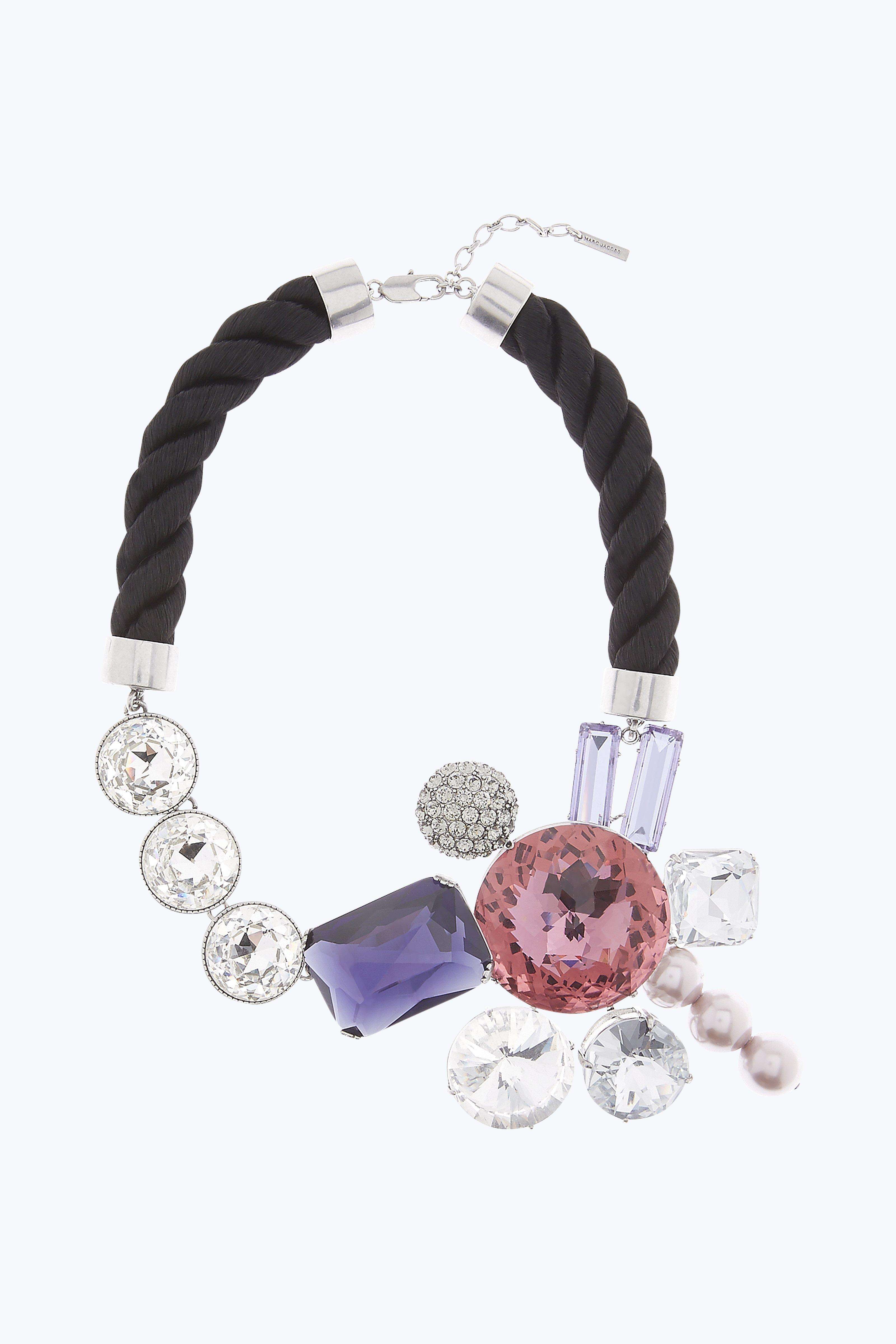 Marc Jacobs Rhinestone Cluster Necklace In Blush Rose Multi